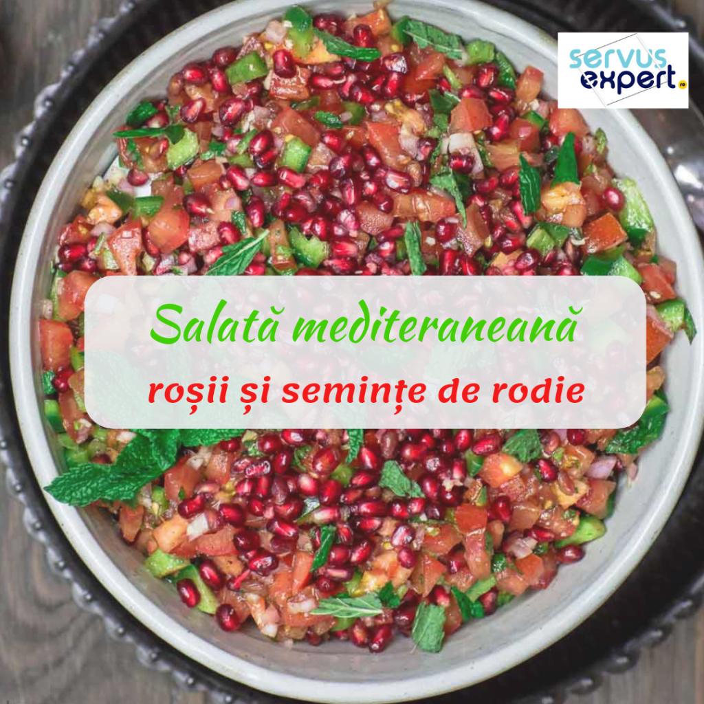 salată mediteraneană cu roții și rodie