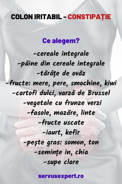 dieta pentru colon iritabil, constipatie