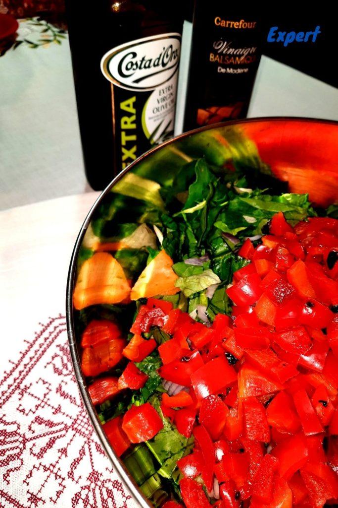 salata de ardei  cu spanac si linte